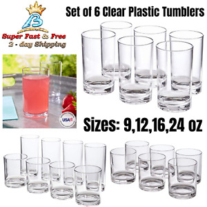 Plastic Tumblers Set Clear Drinking Cups BPA Free Shatter Proof Drinkware New