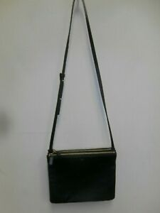 CELINE Black Leather Trio Shoulder Crossbody Bag
