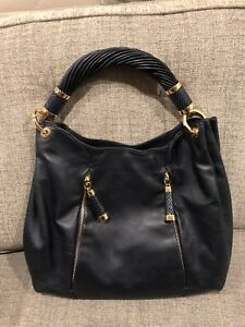 MICHAEL KORS Tonne Leather Hobo Handbag NAVY GOLD
