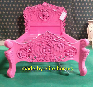 STOCK 3' Single size HOT PINK Designer French baroque sytl Rococo bed furniture