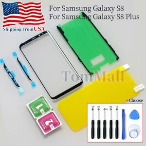Black Front Outer Glass Screen Lens TPU Film Adhesive For Samsung Galaxy S8 Plus