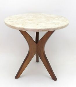 Petite Marble & Walnut Round End Table With Tripod Legs - Mid Century Modern