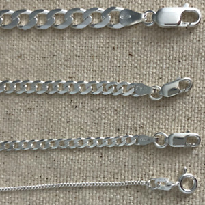 925 sterling silver Italian solid chain curb Cuban Mens Womens Necklace USA $49.99