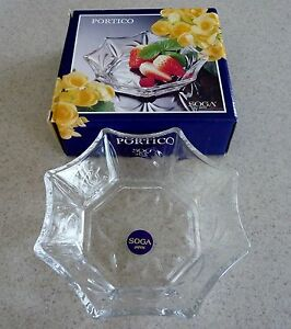 Japanese Octagonal Glass Bowl Dish by Soga Glass Company NEW in Box from Japan