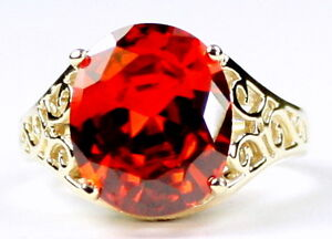 PADPARADSHA CZ 10k Yellow Gold Ladies Ring -Handmade • R057