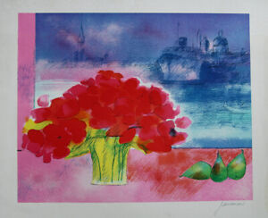 Guiramand Paul Lithography Signed Bouquet of Flowers Sur le Port from Venice $242.19