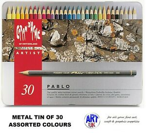 Caran d'Ache PABLO artist quality Coloured Drawing pencil SET - Metal Tin of 30