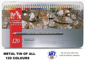 Caran d'Ache PABLO artist quality Coloured Drawing pencil SET - Metal Tin of 120
