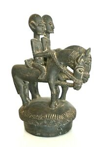 Antique African Tribal Carved Wood Sculpture 2 Horse Riders 14