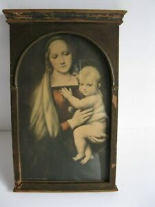 ANTIQUE VERY OLD FRAMED PRINT OF THE MADONNA AND CHILD