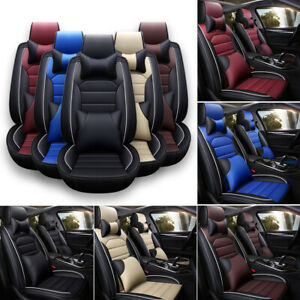 Leather Car Seat Cover Waterproof Breathable 5 Seats Full Set Front Back