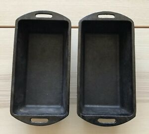 2 Lodge 10-14 X 5-18 Cast Iron Seasoned Meat Loaf Cake Pan Campfire L4LP3