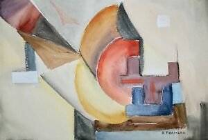 Raymond Trameau Painting Original Watercolour Composition Abstract 13 $1840.95