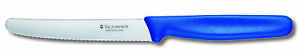 Victorinox Tomato and Sausages Serrated Blade Kitchen Knife, 11cm (Blue) 5.0832