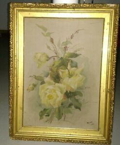 Antique 1900 Victorian yellow roses bouquet flowers oil painting artist Moore