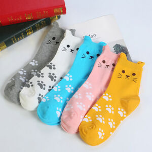 Cute Women Girls Lovely Cute Animal Cartoon Cat Printed Casual Ankle-high Socks