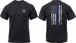 Mens Black Two Sided Thin Blue Line US Flag Distressed Athletic Muscle T Shirt $14.99