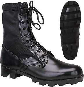 Black Leather Military Jungle Boots Panama Sole Tactical Combat Army Vietnam $36.99