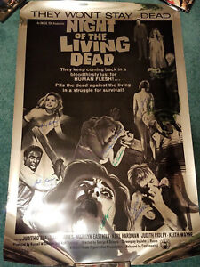 Night of the Living Dead Silver Mylar 25th Anniversary Poster Signed x8