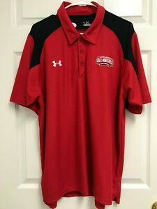 UNDER ARMOUR ALL AMERICAN Football Men Red Short Sleeve Golf Polo Shirt L $31.49