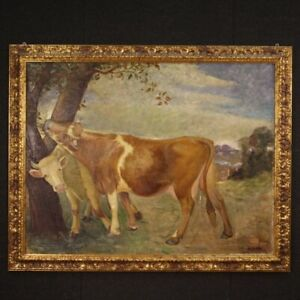 Painting Italian signed framework landscape cows oil canvas frame antique style