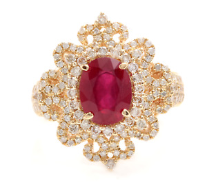 4.50 Carats Red Ruby and Natural Diamond 14K Solid Yellow Gold Ring
