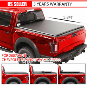 Roll Up Tonneau Cover Fits 07-18 Chevy Silverado Crew Cab 5.8 FT Short Bed Cover