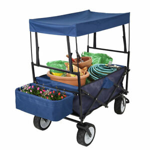 Outdoor Push Folding Wagon Canopy Garden Utility Travel Roof Cart 170Lb Capacity