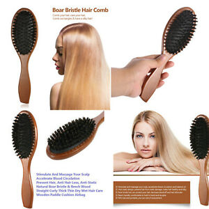 New Natural Boar Bristle Hair Brush Comb Oval Anti-static Paddle Wooden Handle