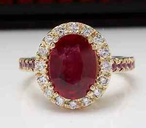 6.50 Carats Natural Ruby and Diamond 14K Solid Yellow Gold Ring