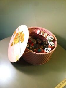 Vtg PINK Princess WICKER Style Round SEWING BASKET Wooden Spools Of Thread Etc. $45.00