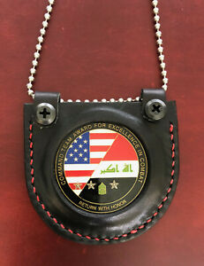 MILITARY Challenge Coin Holder Leather Neck Lanyard USA Made OIF Veteran Made
