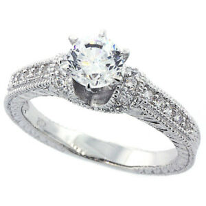 Women Sterling Silver Rhodium Plated Vintage Style Solitaire Engagement?Ring 5mm