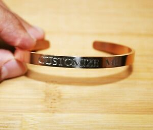 Rose Gold Custom Engraved Bracelets Personalized jewelry gift MEN WOMEN HIM HER