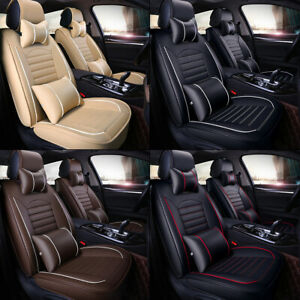 5-Seats 3D Car Seat Cover PU Leather Front & Rear Cushion Full Set Pad Mat Auto