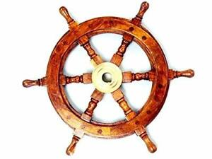 Sailors Ship Wheel 12 Inches Wooden and Brass Antique Ship Wheel $36.99