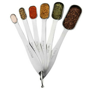 Stainless Steel Set 6/7 Pcs Measuring Spoons Round/Rectangular Metal Baking Tool