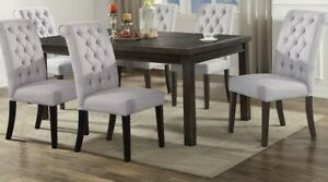 Durable 7pc Dining Room Set Wooden Table Grey Upholstery Fabric Chair Beautiful