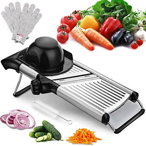 Adjustable Mandoline Slicer Free Cut-Resistant Gloves Brushes Stainless Steel