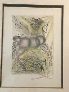 Vintage Salvador Dali Etching Lithograph Original Framed Art Authentic Signed $595.00