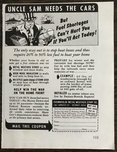 1942 Chamberlin Metal Weather Strip Wartime Ad Uncle Sam Needs the Cars $8.69