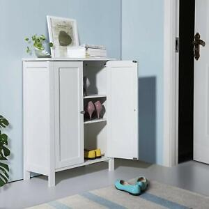 Bathroom Floor Cabinet Cupboard Door Storage Shelf Bath Furniture White