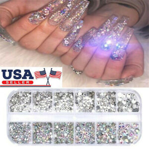 12Box/Set AB Crystal Rhinestone Diamond Gems 3D Glitter Nail Art Decoration US