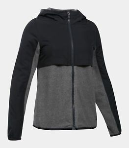 NWT $65 UNDER ARMOUR Phenom Girls Fleece Full Zip Hoodie Jacket BlackGrey Sz M