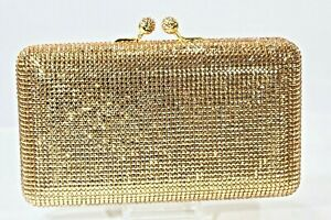 Ex Large Designer Crystallized Evening Bag Purse Gold with Swarovski Crystals