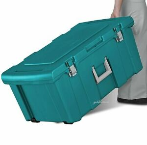 Footlocker with Wheels Hinges Latches Rolling Trunk Garage Dorm Camping Storage