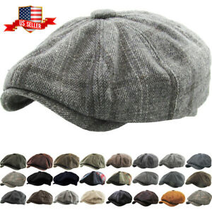 Men#x27;s Newsboy Button Top Ascot Ivy Cabbie Hat Gatsby Cap Plaid PU Leather $22.99