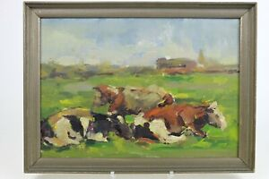 Antique Dutch painting early 1900's Oil  board 31 x 42 cm Cows in landscape