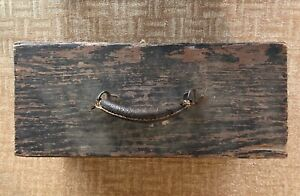 """ANTIQUE: 16""""x8""""x7"""" WOODEN FISHING TACKLE BOX FULL OF VINTAGE FISHING ACCESSORIES"""
