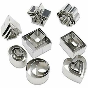 Mini Geometric Shaped Cookie Biscuit Cutter Set 24 Rectangle Square Heart Round